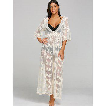Plunging Neck See Thru Cover-up Dress - BEIGE ONE SIZE