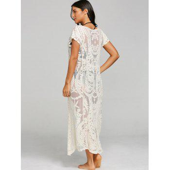See Thru Lace Embroidery Maxi Cover Up - BEIGE ONE SIZE