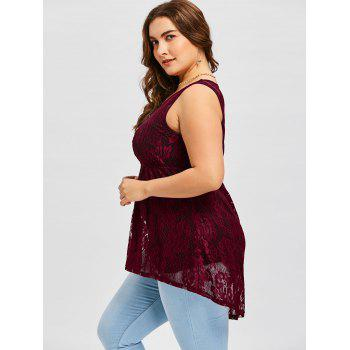 Plus Size Sheer Tank Top with Camisole - WINE RED 5XL