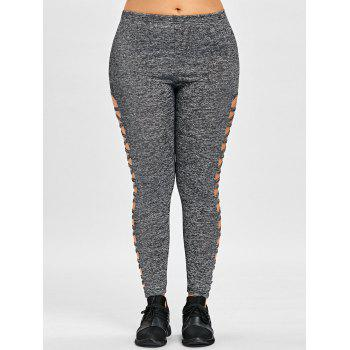 Plus Size Cut Out Marled Leggings - DEEP GRAY XL