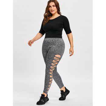 Plus Size Cut Out Marled Leggings - DEEP GRAY 4XL