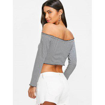 Stripes Off Shoulder Crop Top - BLACK XL