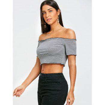 Cropped Striped Off The Shoulder T-shirt - BLACK L