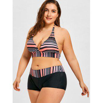 Striped Plus Size Bikini and Boyshort Bottom - BLACK/PINK 3XL