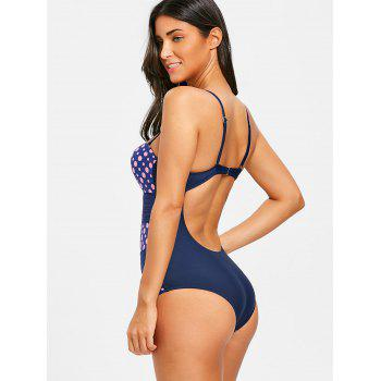 Polka Dot Backless Push Up Swimsuit - PINK L