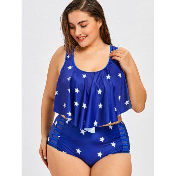 Plus Size Stars High Waist Bikini Set - BLUE 2XL
