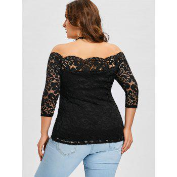 Plus Size Scalloped Off The Shoulder  Blouse - BLACK 4XL
