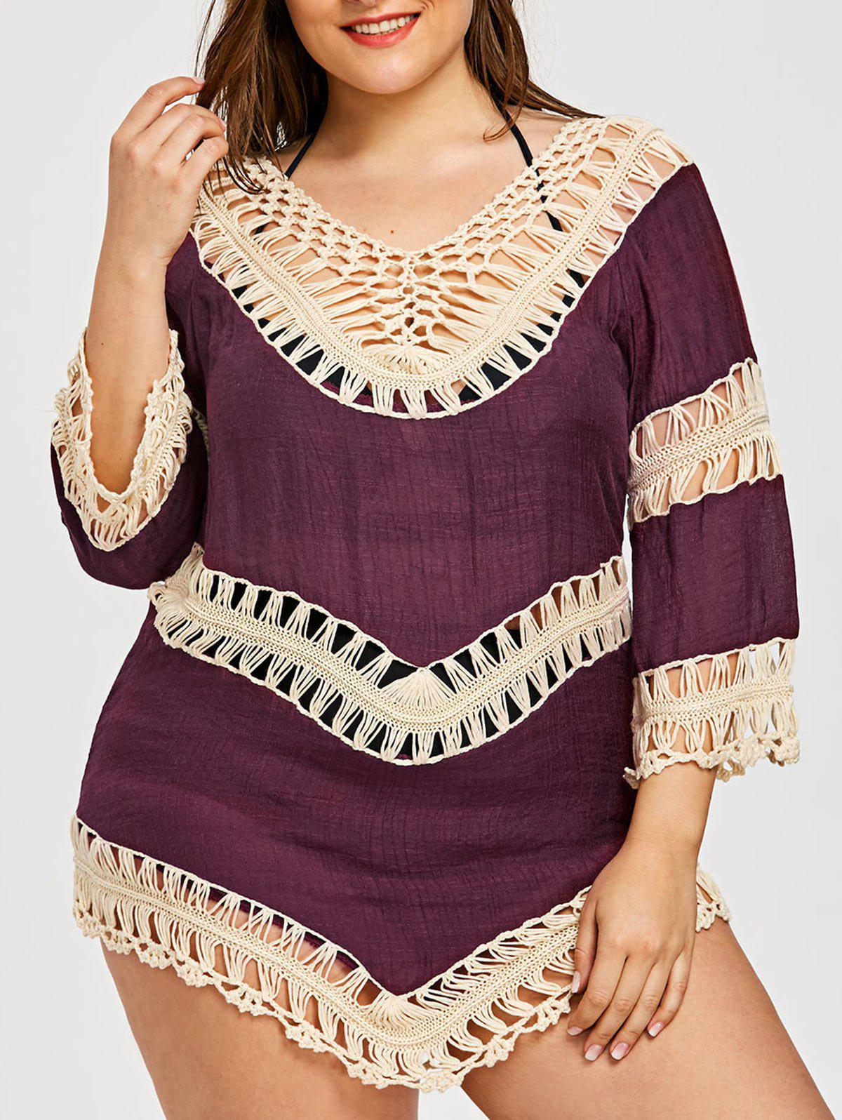 Plus Size Asymmetric Crochet Panel Cover-Up - PURPLISH RED ONE SIZE