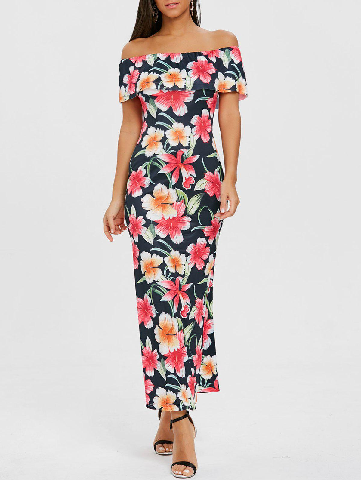 Floral Ruffle Maxi Off Shoulder Dress - PURPLISH BLUE M