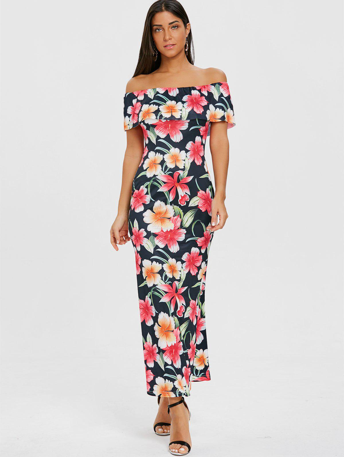 Floral Ruffle Maxi Off Shoulder Dress - PURPLISH BLUE L