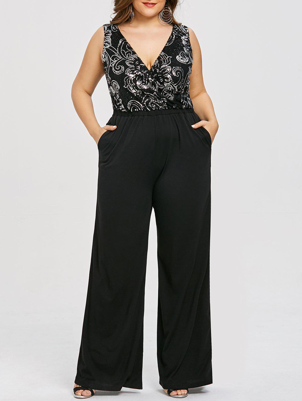 Plus Size Sequins Trim Plunging Palazzo Jumpsuit - BLACK 5XL