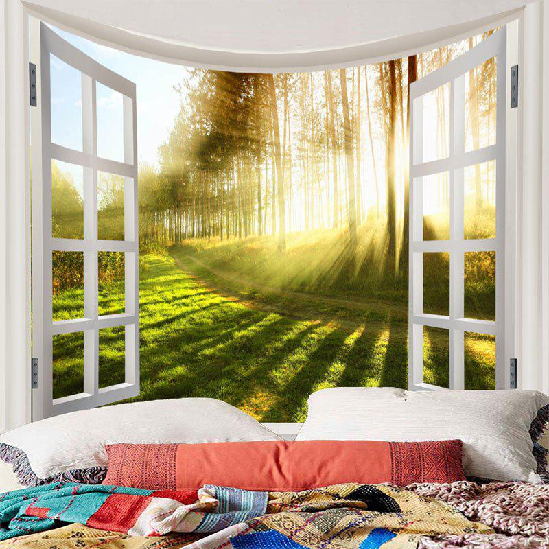 Wall Hanging Path Sunshine Pine Forest Print Tapestry - GREEN W91 INCH * L71 INCH