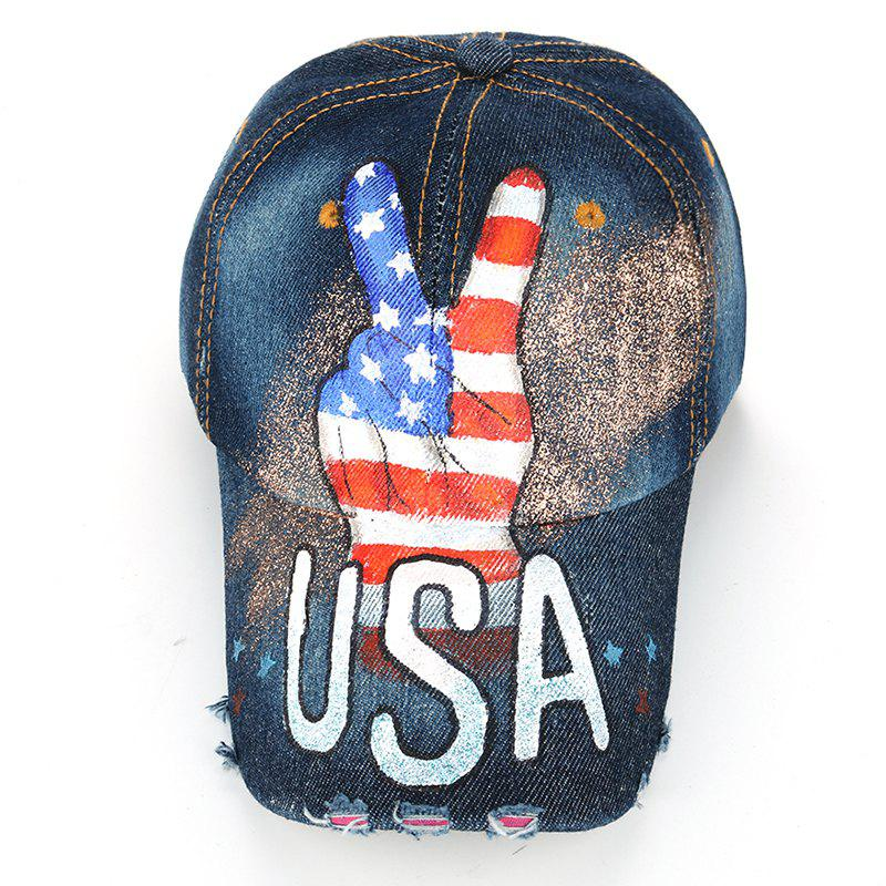 Victory Gesture Pattern Hand Drawing Baseball Hat -