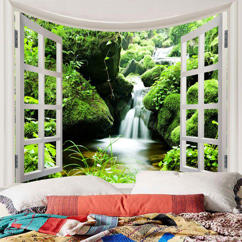 Window Scenery Moss Stream Wall Art Tapestry - GREEN W71 INCH * L71 INCH