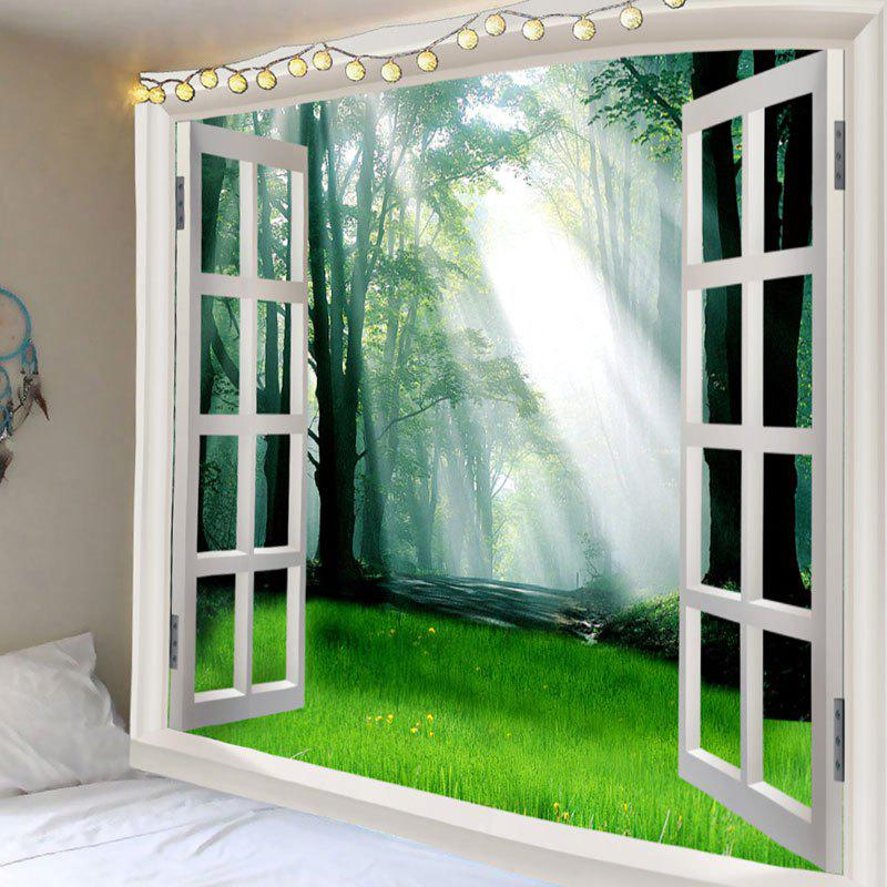 Sunlight Forest Grass 3D Window Wall Art Tapestry - GREEN W91 INCH * L71 INCH