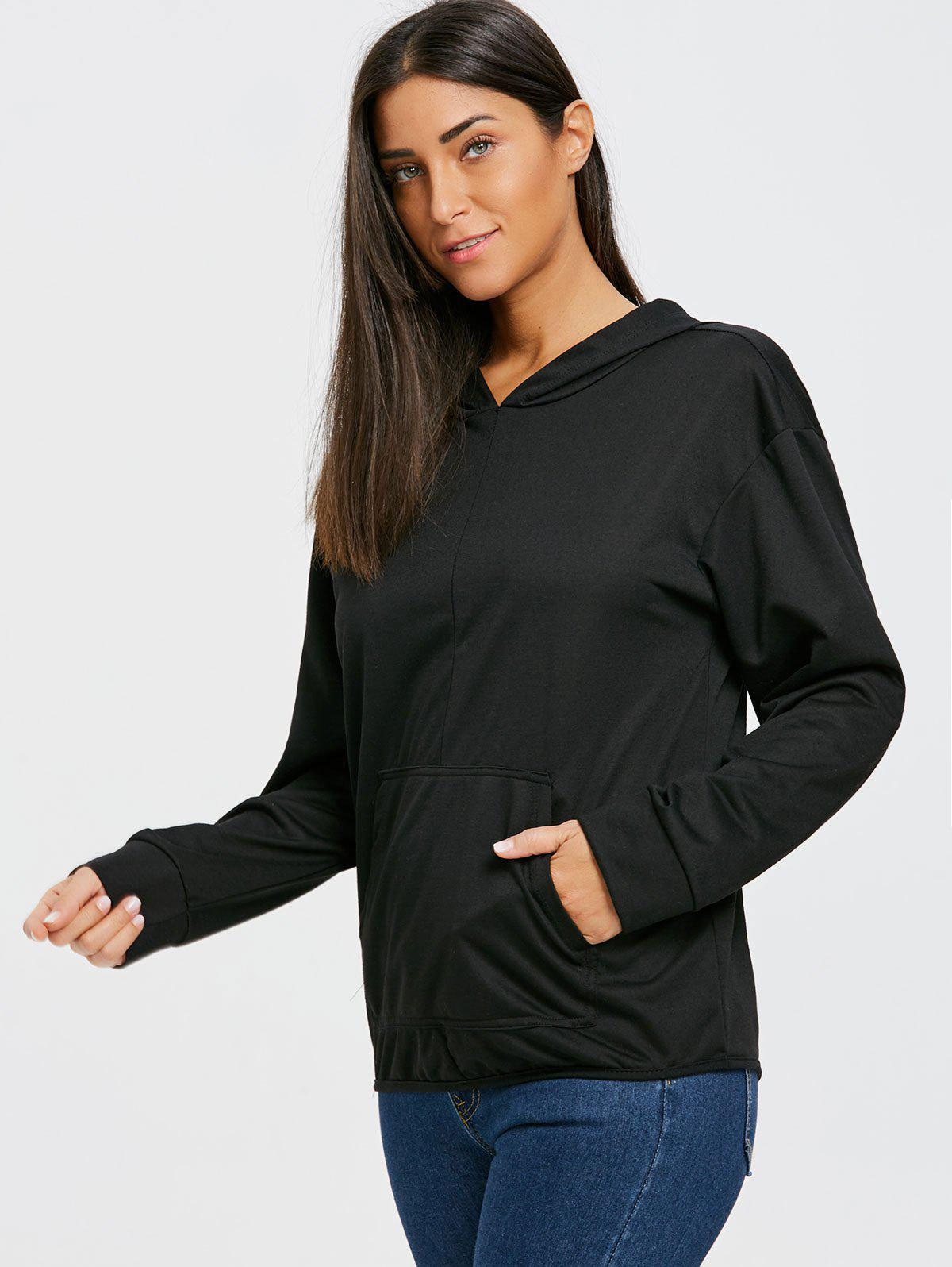 Kangaroo Pocket Back Cut Out Hoodie - BLACK L