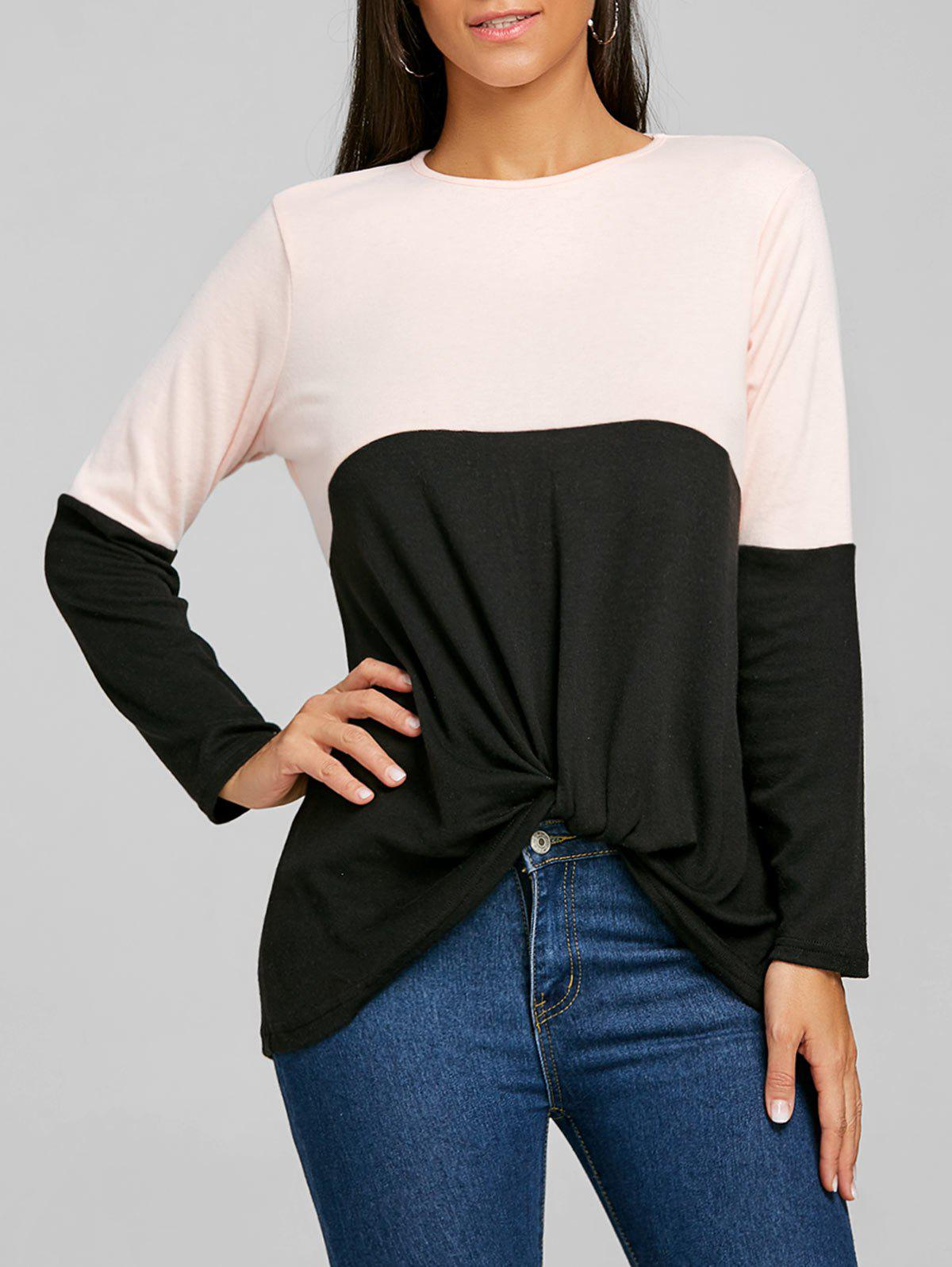 Twist Color Block Long Sleeve Top - BLACK L
