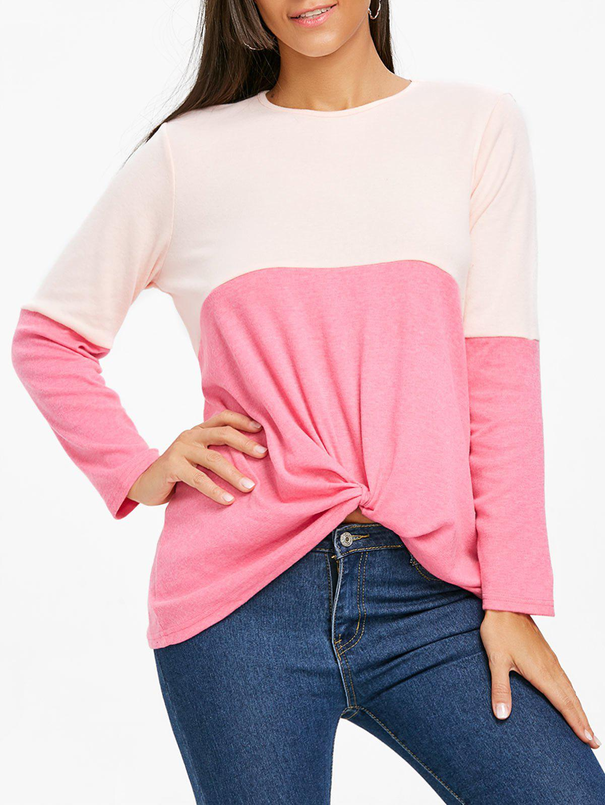 Twist Color Block Long Sleeve Top - ROSE RED M