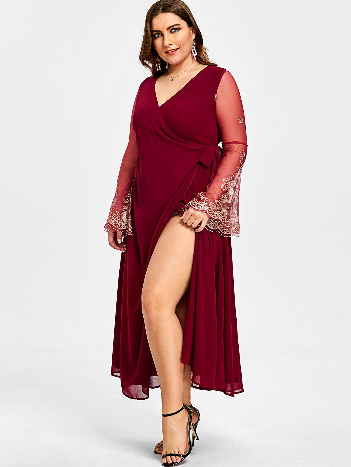Plus Size High Slit Sheer Sleeve Surplice Dress - WINE RED 3XL