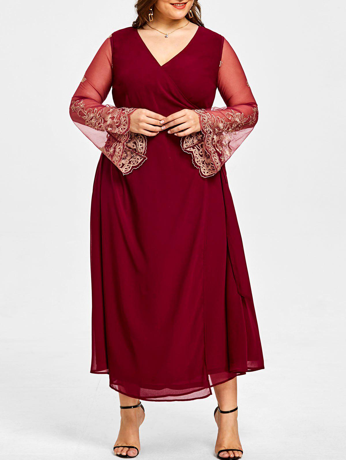 Plus Size High Slit Sheer Sleeve Surplice Dress