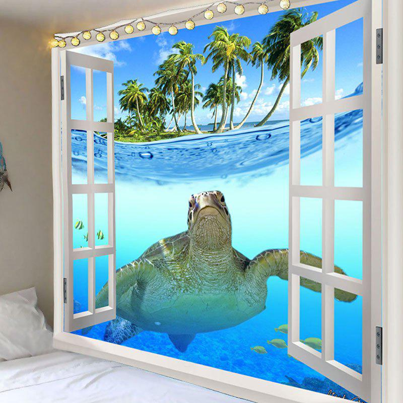 Window Sea Turtle Printed Wall Decor Tapestry - COLORMIX W79 INCH * L71 INCH