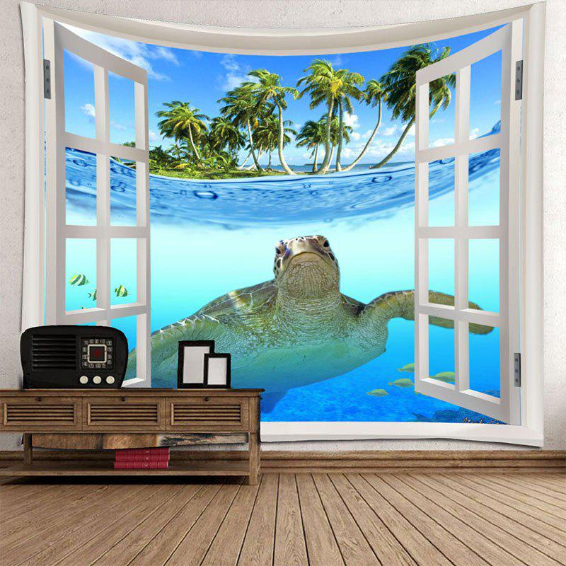 Window Sea Turtle Printed Wall Decor Tapestry - COLORMIX W91 INCH * L71 INCH