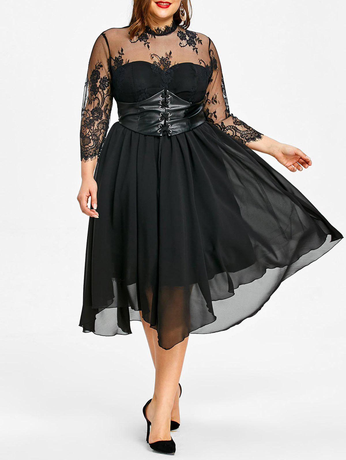Plus Size Empire Waist Gothic Dress - BLACK 5XL