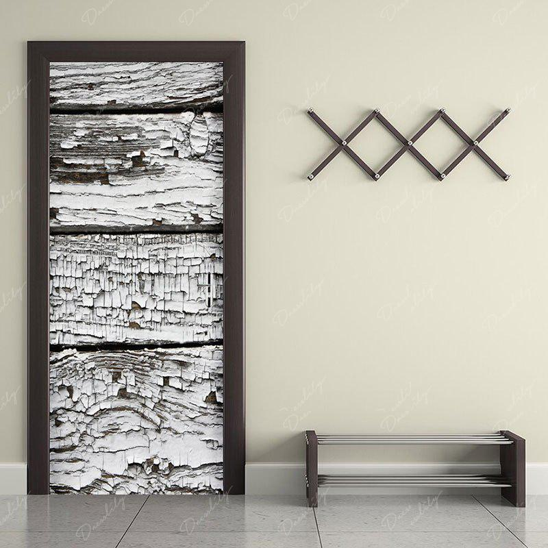 Ragged Plank Printed Decorative Door Stickers - GRAY WHITE CAMOUFLAGE 38.5*200CM*2PCS