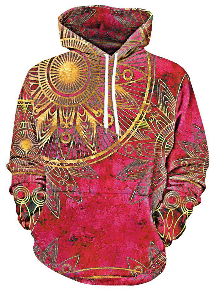 Maya Totem Printed Kangaroo Pocket Hoodie - RED L