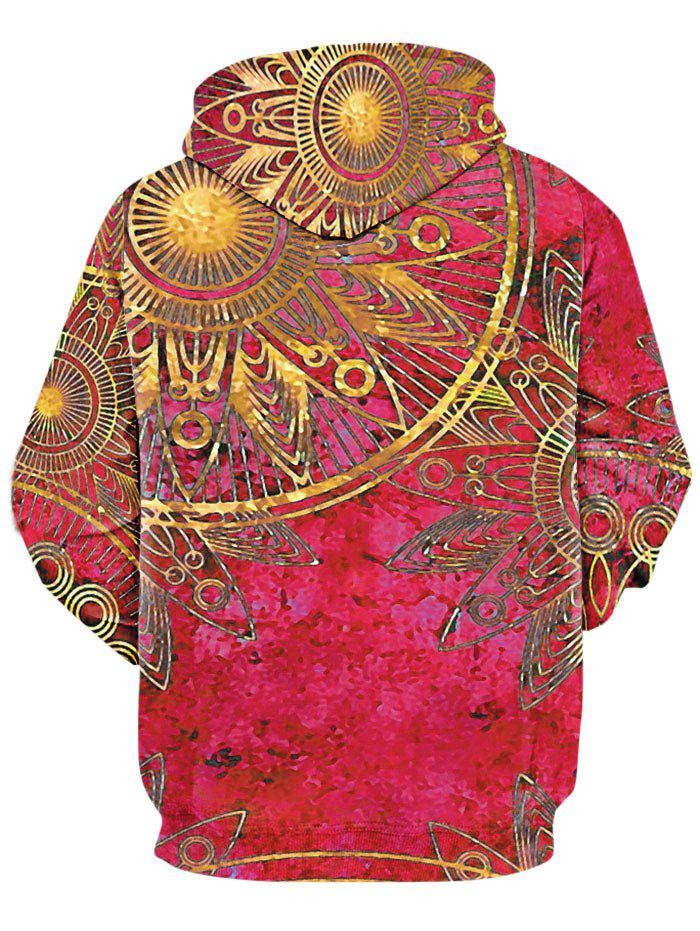 Maya Totem Printed Kangaroo Pocket Hoodie - RED M