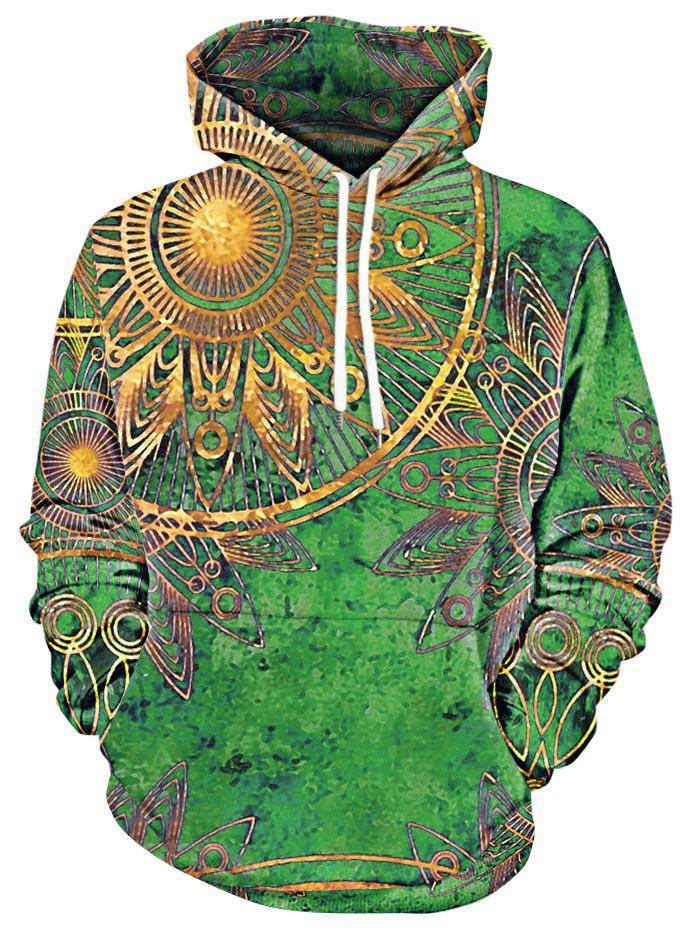 Maya Totem Printed Kangaroo Pocket Hoodie - GREEN 2XL