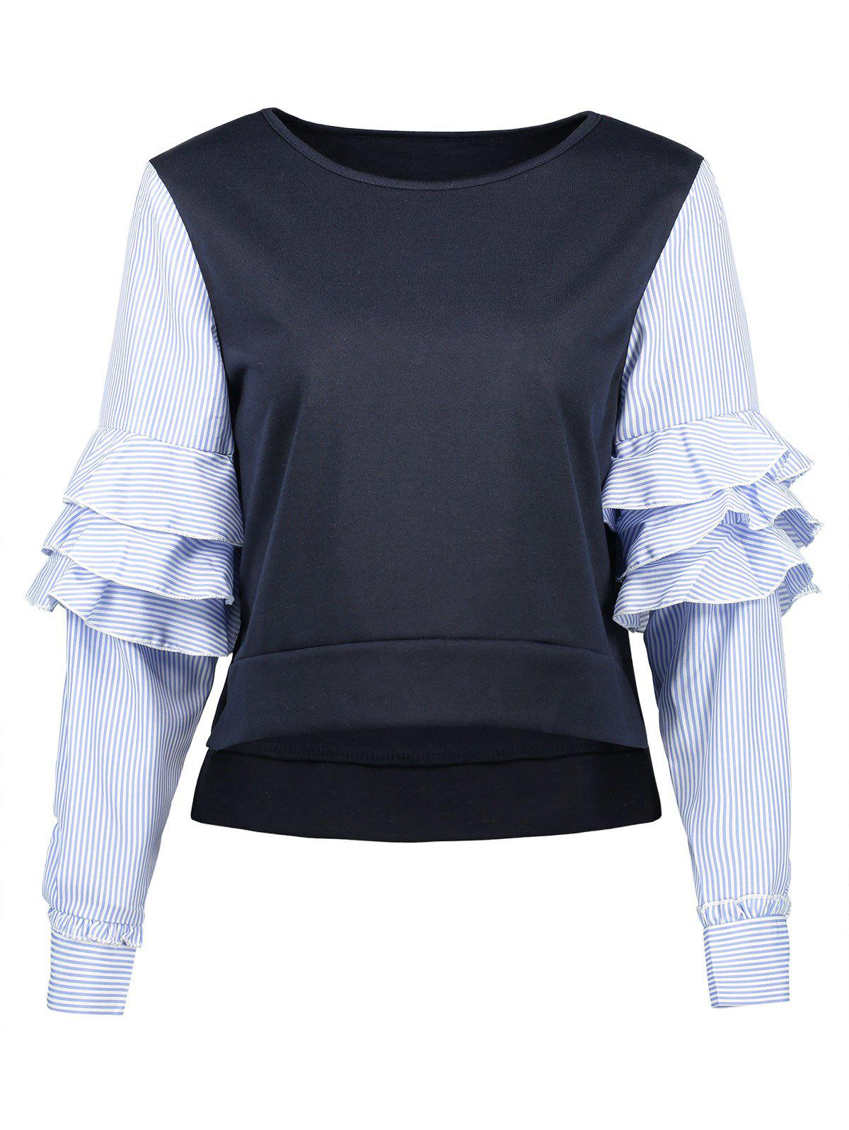 Striped Tiered Sleeve Top tiered flutter sleeve top