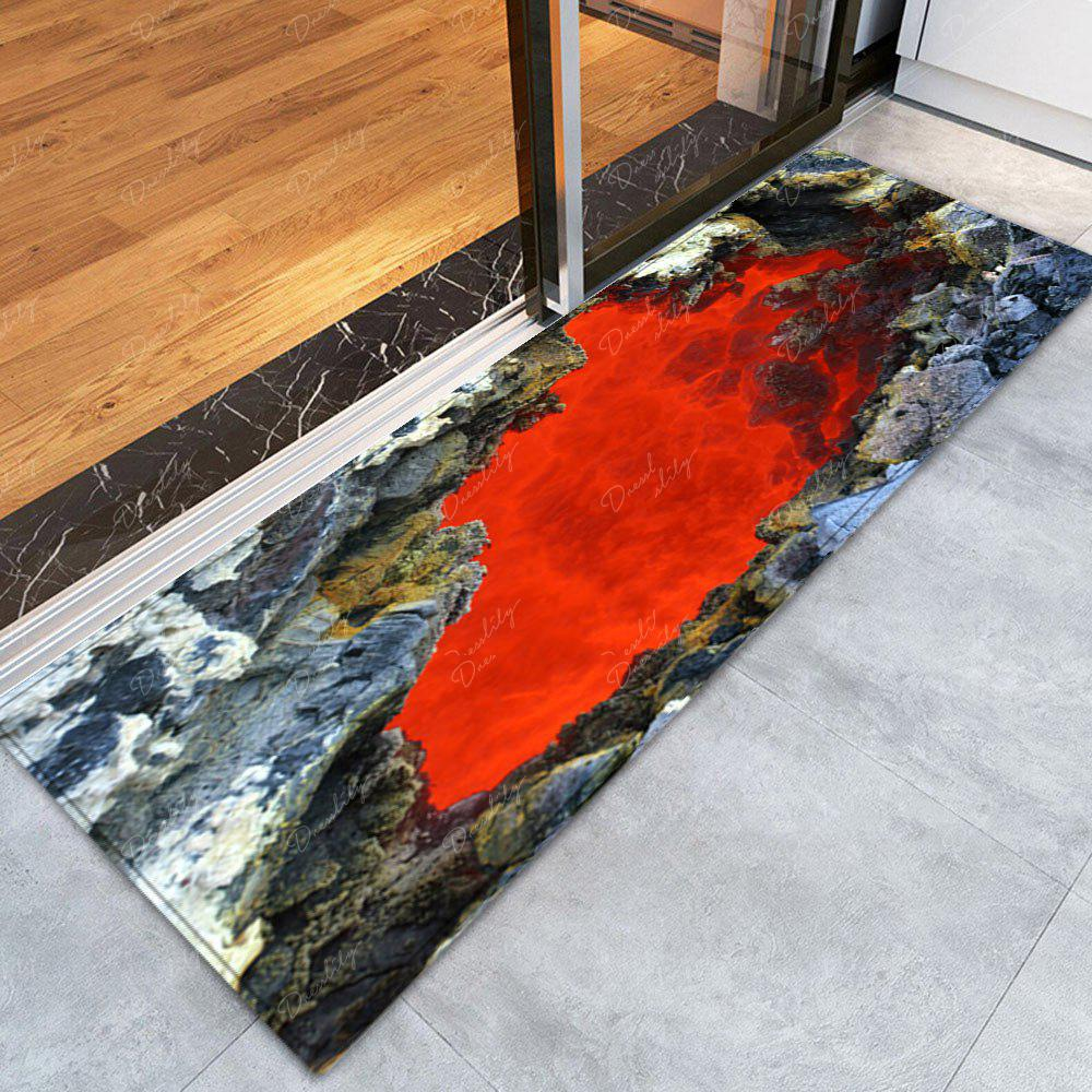 Ablaze Rock Cave Pattern Floor Area Rug - RED W24 INCH * L71 INCH