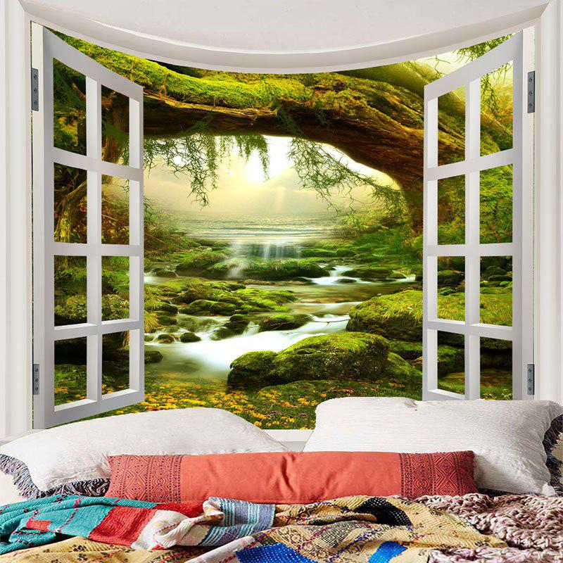Waterproof Fairyland Tree River Print Wall Tapestry - GREEN W79 INCH * L71 INCH