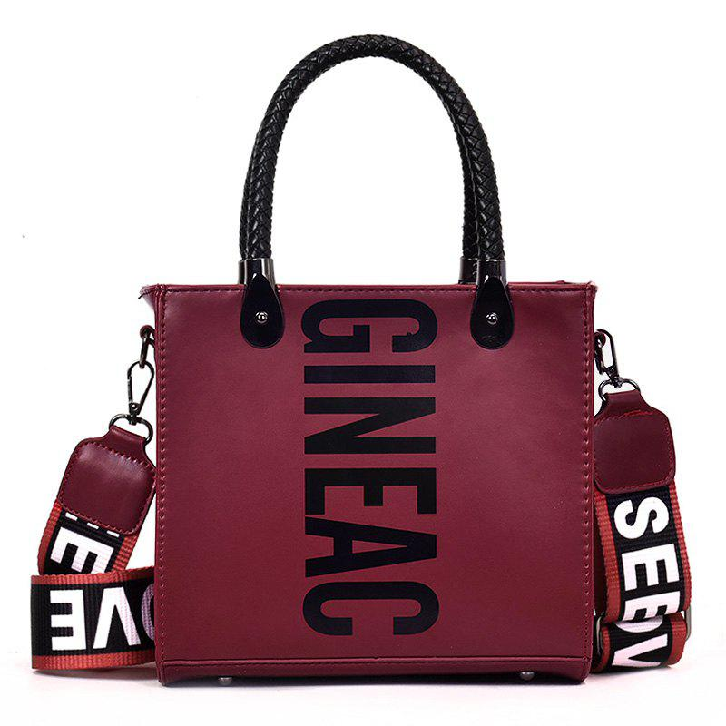 PU Leather Casual Shopping Handbag - WINE RED