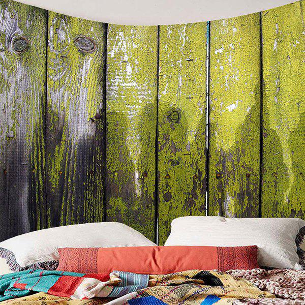 Hanging Old Wood Board Printed Wall Decor Tapestry - GREEN W71 INCH * L71 INCH