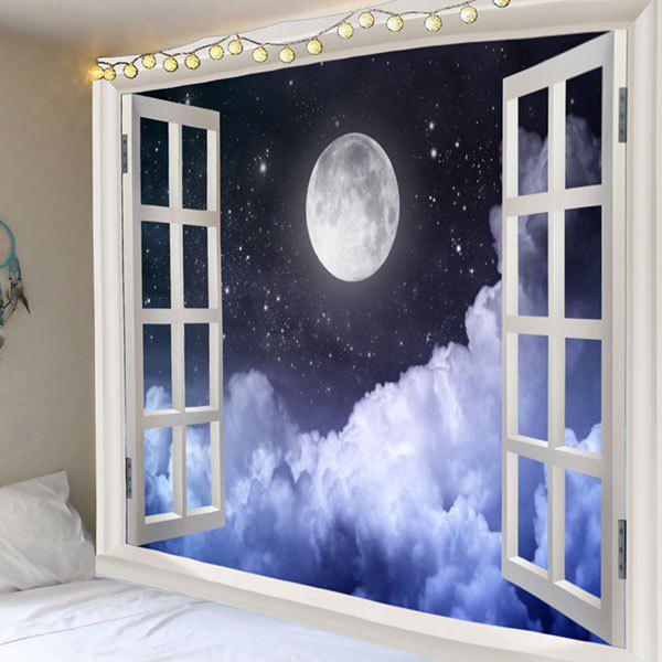 Faux Window Full Moon Sky Wall Decoration Tapestry full window trim decoration strips stainless steel styling for ford focus 3 sedan 2013 2014 car accessories oem 12