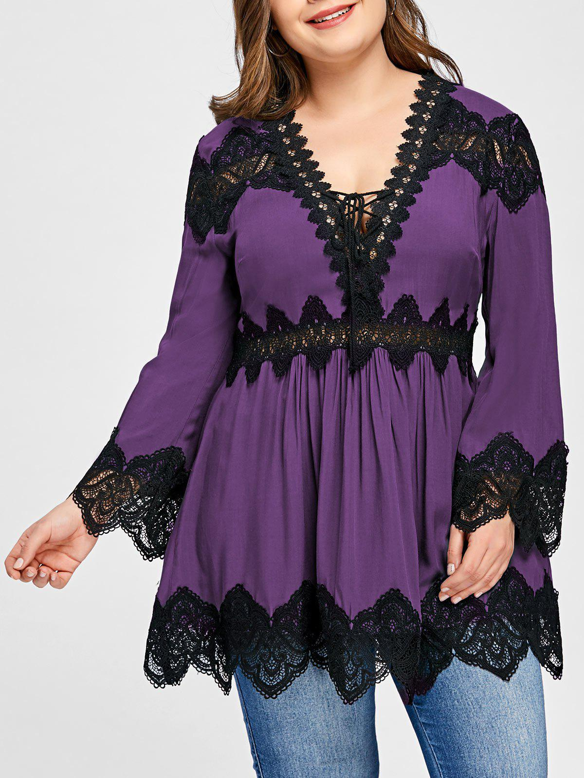 Plus Size Lace Panel Long Sleeve Peplum Blouse - PURPLE 2XL