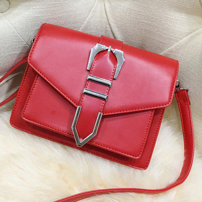 Buckled Stitching Flap Crossbody Bag - RED