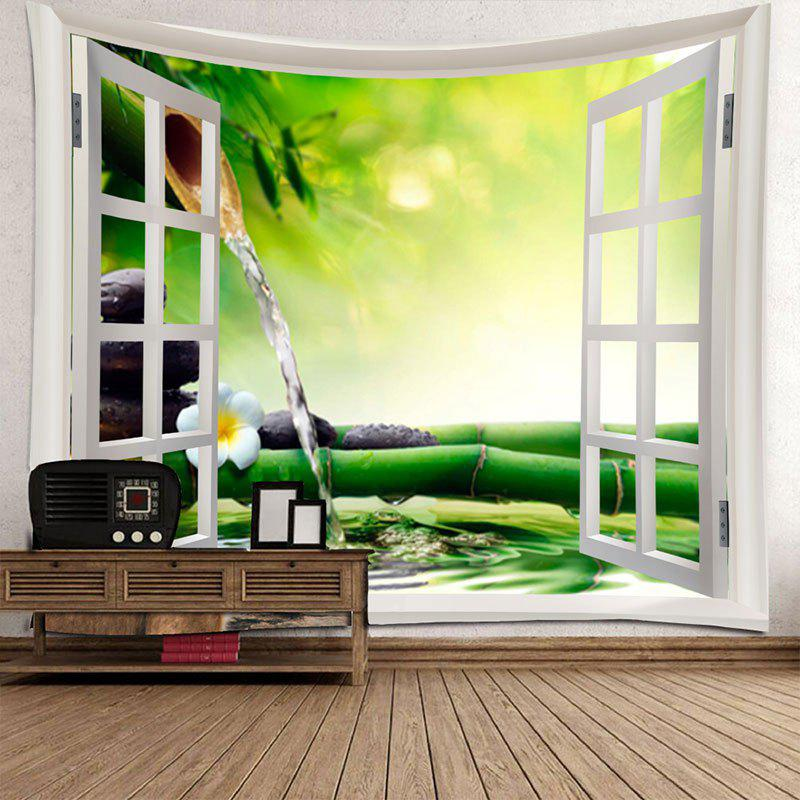 Window Bamboo Running Water Printed Waterproof Wall Decor Tapestry - COLORMIX W79 INCH * L71 INCH