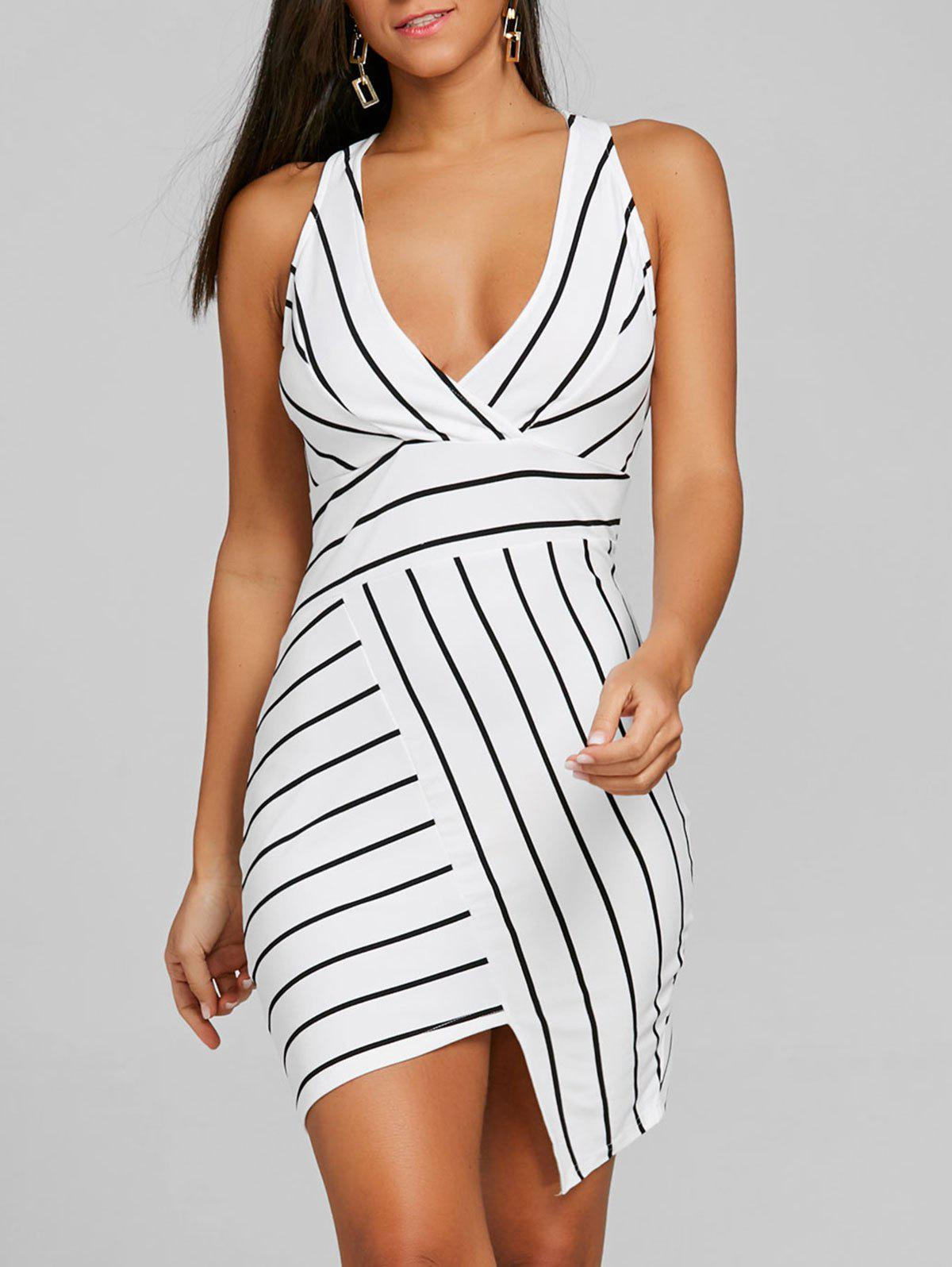 V Neck Striped Asymmetric Dress - BLACK STRIPE S