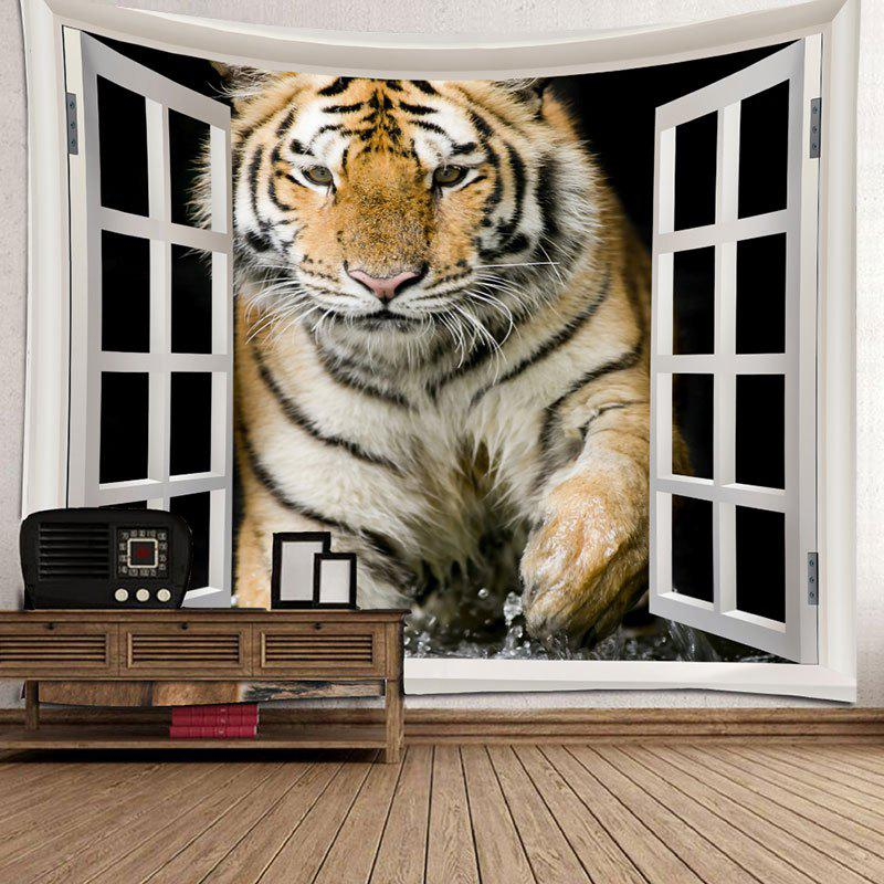 Art Decor Tiger Printed Waterproof Hanging Tapestry - BROWN W79 INCH * L71 INCH