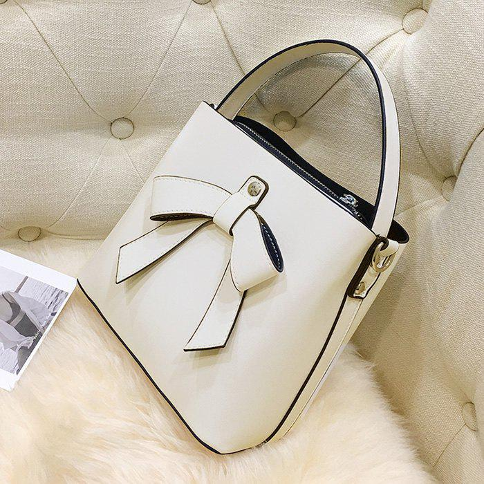 Bow Handbag with Shoulder Strap - WHITE