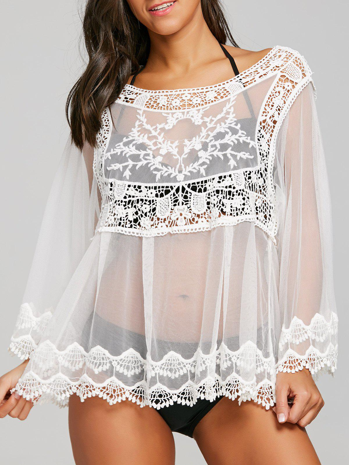 Dentelle Brodée Sheer Cover Up Top - Blanc ONE SIZE