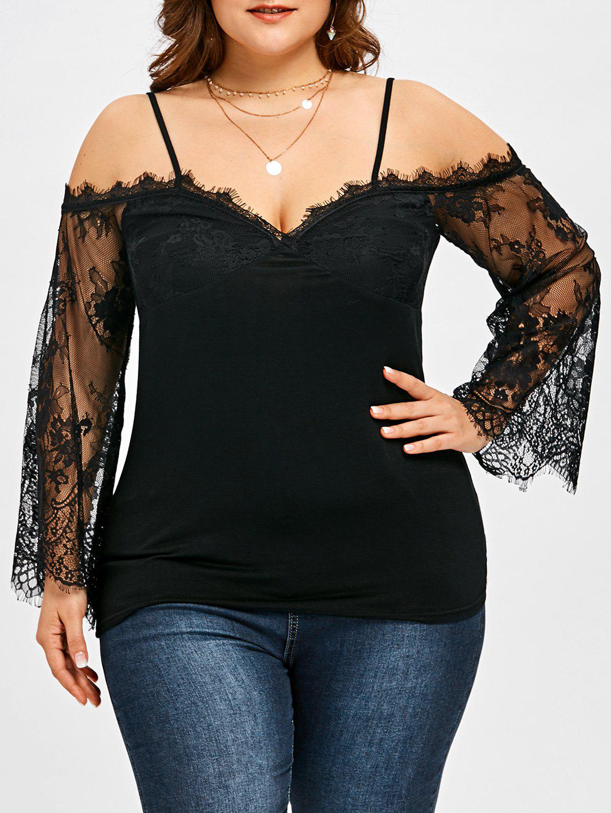 Plus Size Lace Panel Bell Sleeve Blouse - BLACK 5XL