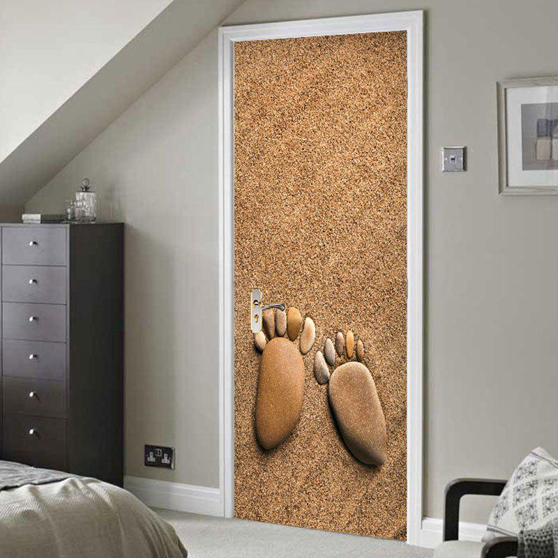 Stones Footprint Print Door Stickers - BROWN 38.5*200CM*2PCS