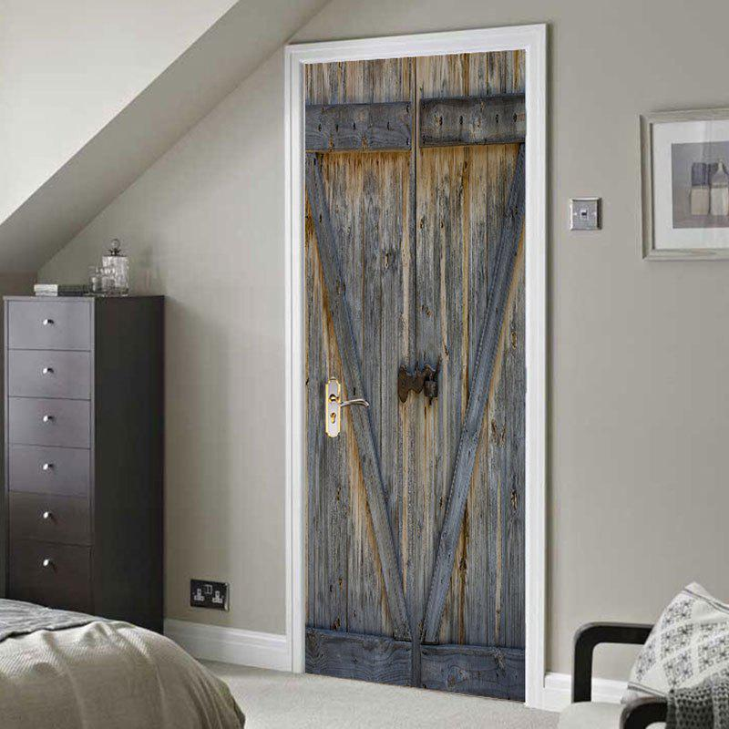 Wooden Door Print Door Decals - GRAY 38.5*200CM*2PCS