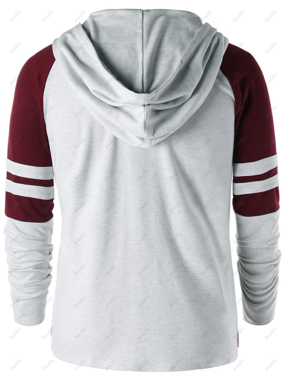 Raglan Sleeve Two Tone Hoodie - GRAY/RED M