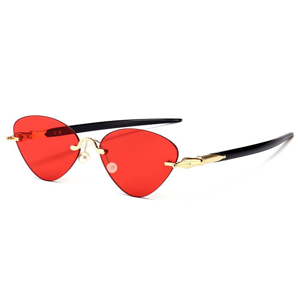 Straight Legs Rimless Cat Eye Sunglasses - RED