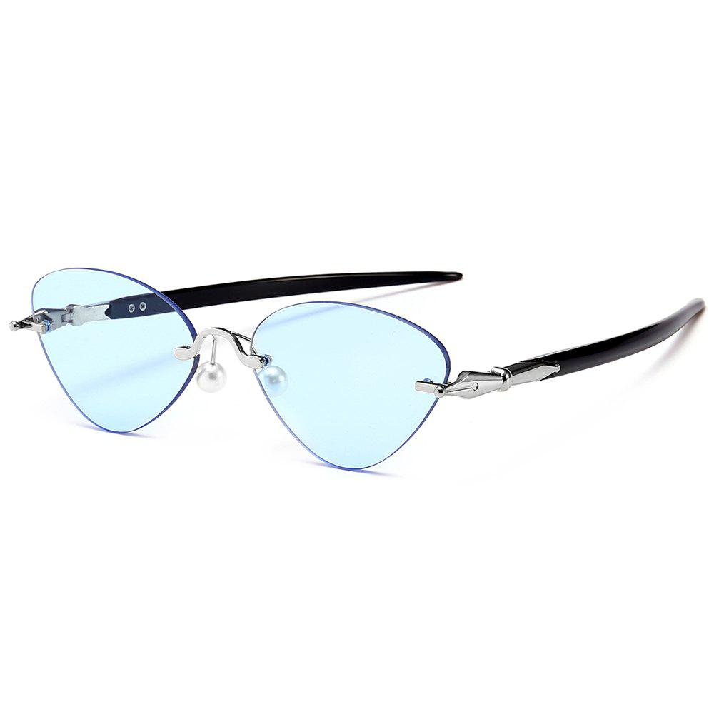 Straight Legs Rimless Cat Eye Sunglasses - BLUE